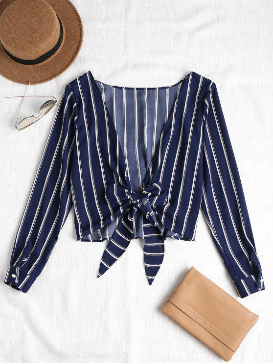 fancy Striped Knotted Back Blouse - DEEP BLUE L