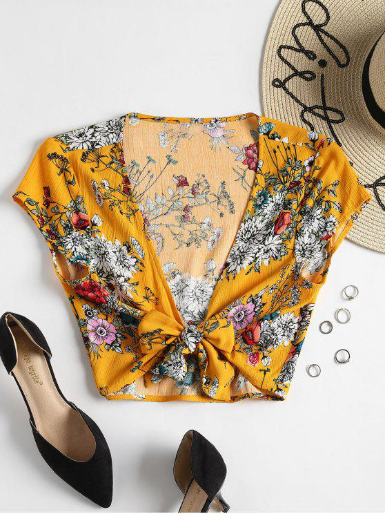 fancy Tied Front Floral Blouse - BEE YELLOW L