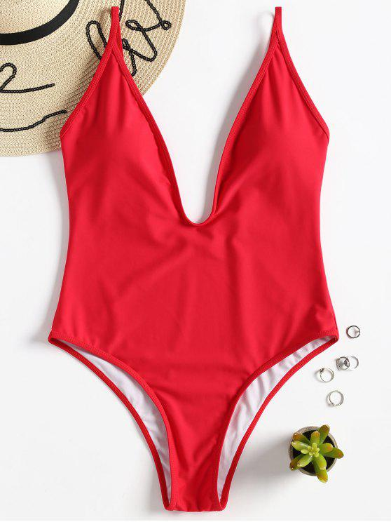 hot Padded Plunge One Piece Swimsuit - LOVE RED L