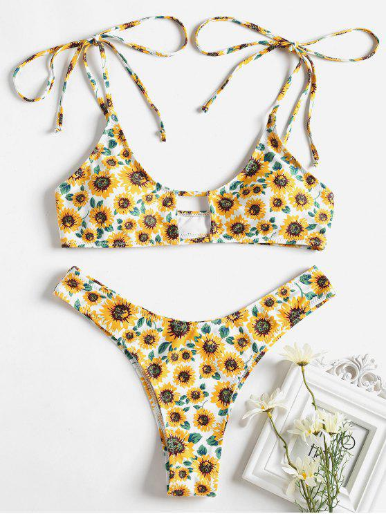 chic Tie Shoulder Sunflower Keyhole Bikini - WHITE L
