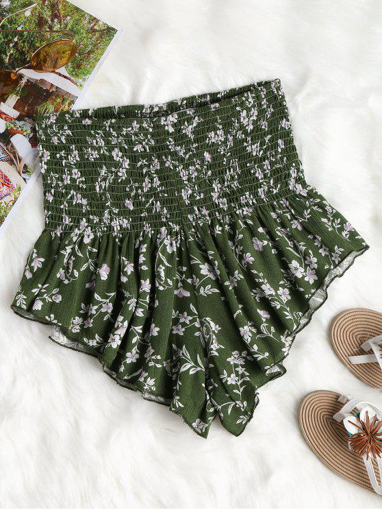 outfits Floral High Waisted Shorts - MEDIUM FOREST GREEN M