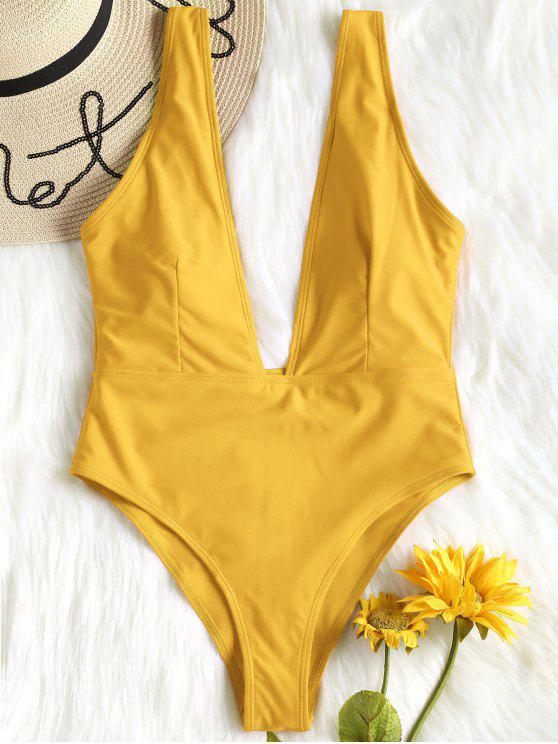 trendy High Cut Plunge Neck Swimsuit - BEE YELLOW M