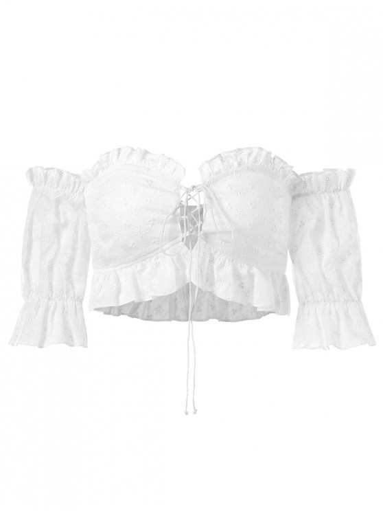 lady Lace-up Eyelet Off Shoulder Top - WHITE M