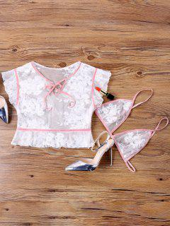 Sheer Embroidered Blouse With Bralette - White L