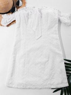 Bow Eyelet Off Shoulder Dress - White M