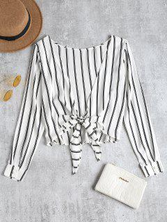 Striped Knotted Back Blouse - White S