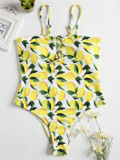Lemon Lace-Up High Leg Swimsuit - Yellow L
