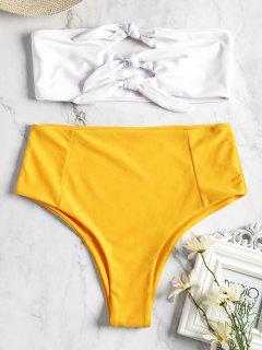 Knotted High Waisted Bandeau Bikini - Yellow S