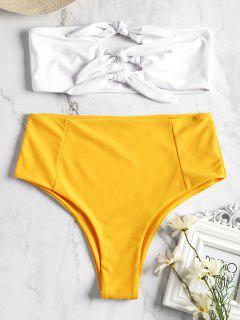 Knotted High Waisted Bandeau Bikini - Yellow L