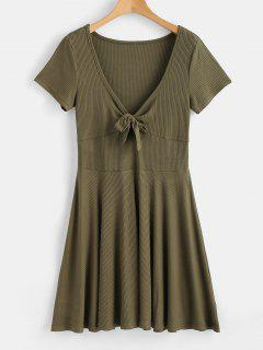 Tied Front Low Cut Dress - Army Green S