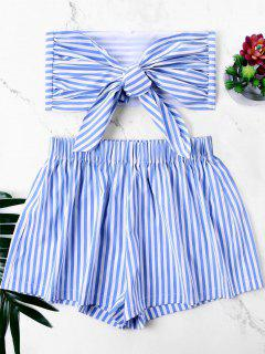 Knot Bandeau Top With Striped Shorts Set - Blue M