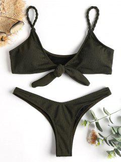 Knot Ribbed Thong Bikini - Dark Forest Green L