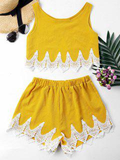 Crochet Panel Shorts Two Piece Set - Yellow L