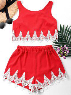Crochet Panel Shorts Two Piece Set - Fire Engine Red M