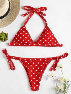 Ensemble Bikini String Texturé à Pois  - Rouge Amour M