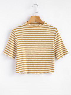 Knitted High Neck Striped Top - Cookie Brown L