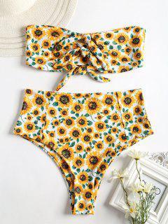 Knot Sunflower High Waisted Bikini - White S