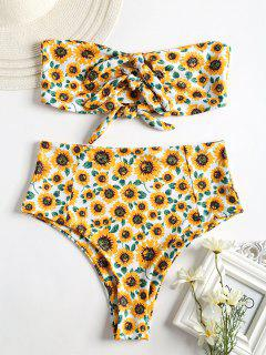 Knot Sunflower High Waisted Bikini - White M