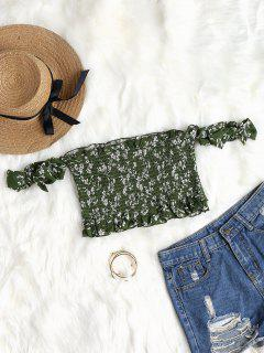 Tie Sleeves Floral Off Shoulder Top - Medium Forest Green M