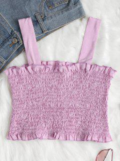 Smocked Rüschen Crop Tank Top - Mauve M
