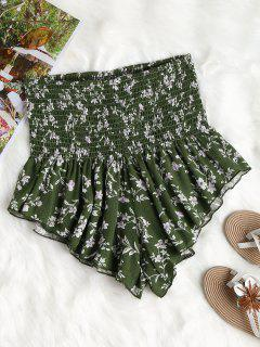 Floral High Waisted Shorts - Medium Forest Green S