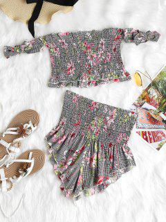 Houndstooth Floral Smocked Top And Shorts - Multi L
