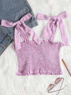 Tie Shoulders Smocked Tank Top - Mauve S