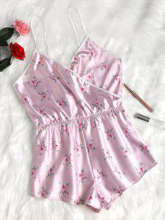 Floral Satin Romper - Light Pink M