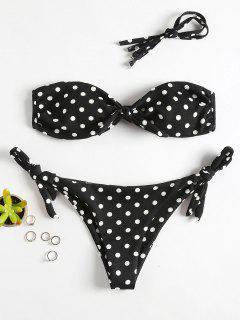 Polka Dot Bandeau Bikini Set - Black M