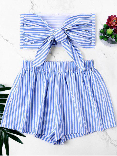 sale Knot Bandeau Top with Striped Shorts Set - BLUE S Mobile