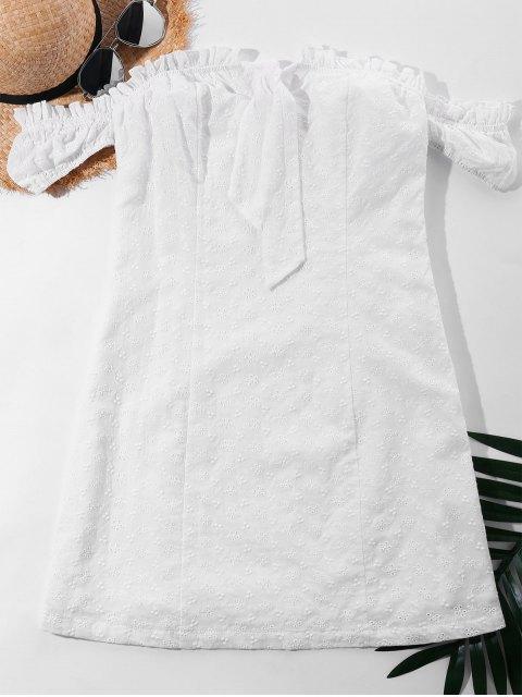 Robe à Noeud à épaules Dénudées - Blanc XL Mobile
