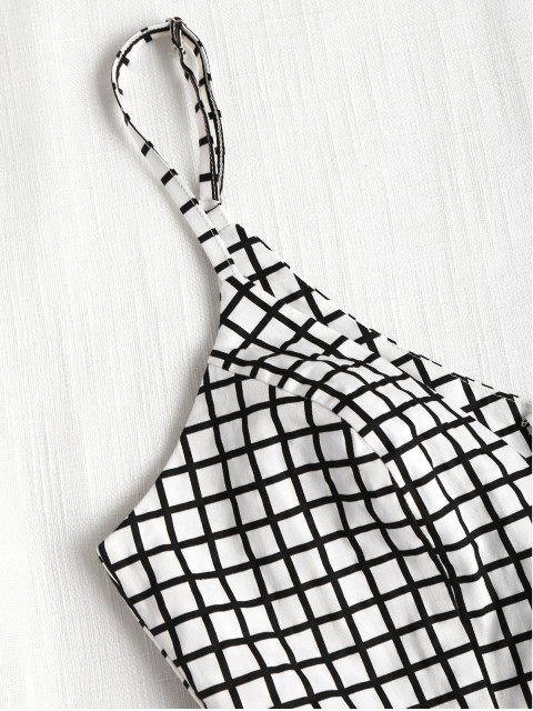 affordable Plaid Ruffles Mini Dress - BLACK XL Mobile