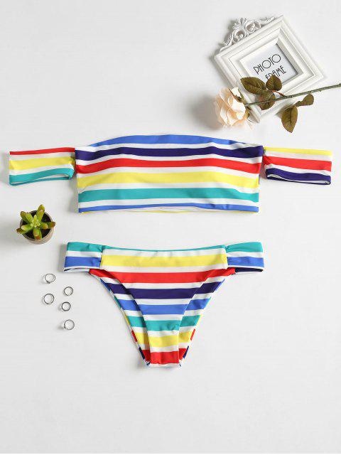 affordable Rainbow Striped Off Shoulder Bikini - MULTI L Mobile