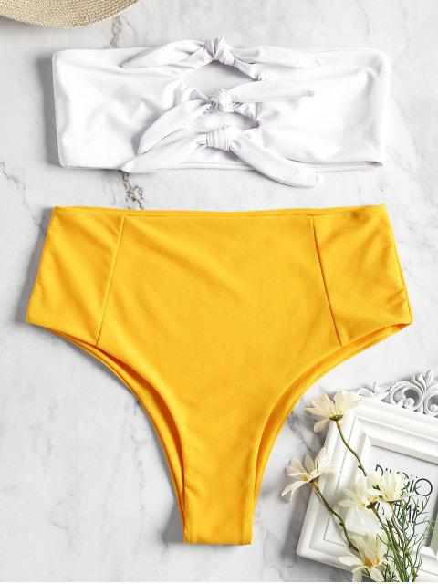 buy Knotted High Waisted Bandeau Bikini - YELLOW M Mobile
