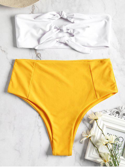 Bikini Bandeau anudado de talle alto - Amarillo L Mobile