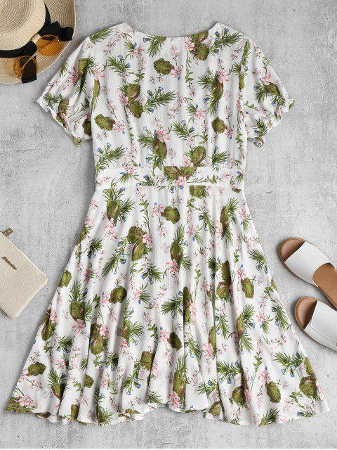fancy Floral Midi Skater Tea Dress - WHITE S Mobile