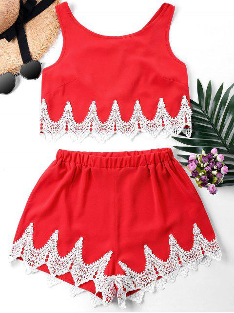 hot Crochet Panel Shorts Two Piece Set - FIRE ENGINE RED XL Mobile