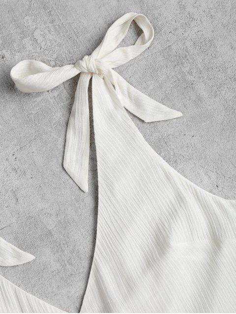 trendy Tie Strap Wide Leg Cute Romper - WHITE L Mobile