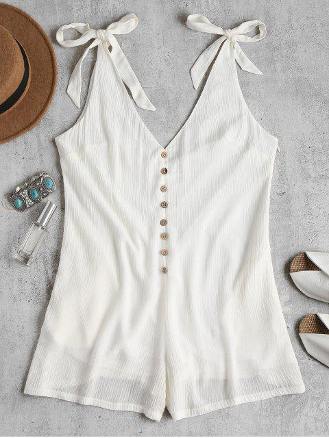 trendy Tie Strap Wide Leg Cute Romper - WHITE L Mobile