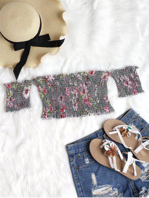 Top con hombros descubiertos con diseño floral - Multicolor-A L Mobile