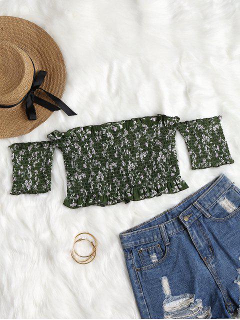 Volantes florales Shirred Off hombro arriba - Bosque Verde Mediana L Mobile