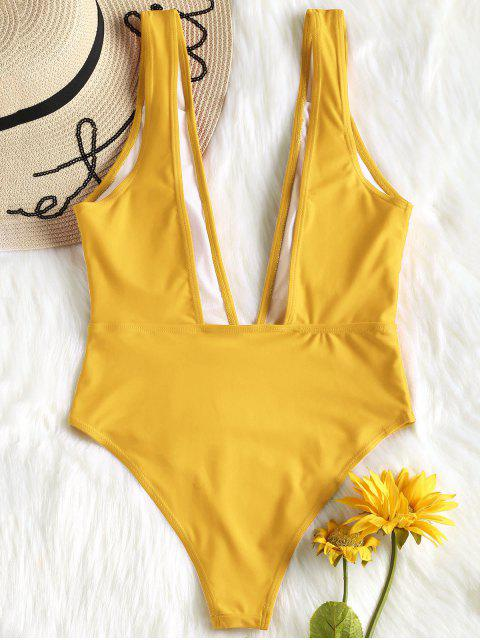 trendy High Cut Plunge Neck Swimsuit - BEE YELLOW M Mobile