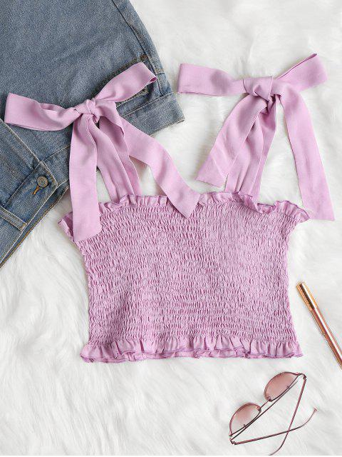 fancy Tie Shoulders Smocked Tank Top - MAUVE M Mobile