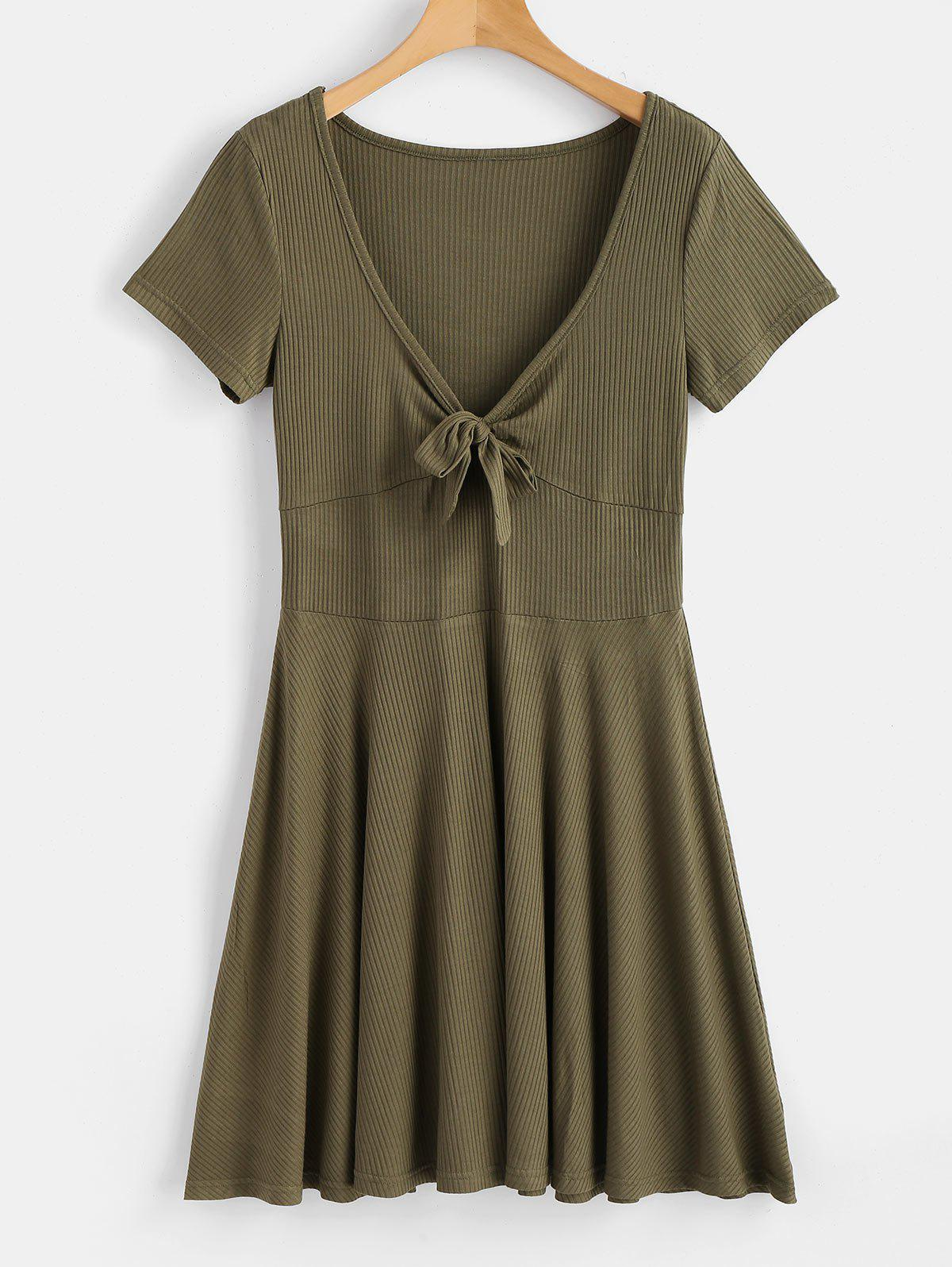 Tied Front Low Cut Dress