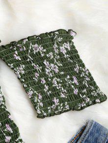 Shirred Volantes Arriba Verde Hombro Off Florales Bosque Mediana M qCwa5C4xrg