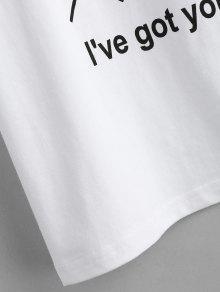 De S Redondo Blanco Y Cuello Con Letras Estampado Camiseta 8fxq7wn
