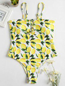 الليمون الدانتيل متابعة عالية الساق ملابس السباحة - الأصفر L