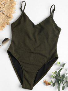 قطعة واحدة عالية قص عارية الذراعين ملابس السباحة - Dark Forest Green L