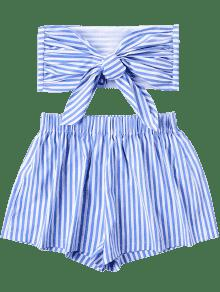 De Azul Nudo Bandeau Top Con A Pantalones Cortos Rayas S Conjunto n4qp4xwU