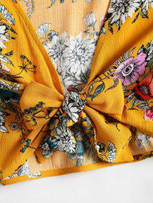 Floral S Abeja Blusa Delantera De Amarilla Atada vpwpdxFqY